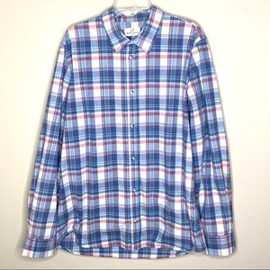 Marine Layer Blue Plaid Casual Button Up Shirt L